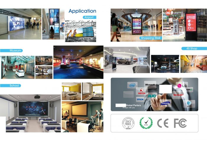 Full high definition digital signage JK-TOP Full HD Digital Signage Display with a pair of speakers